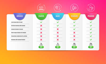 Like, Writer and Best manager icons simple set. Comparison table. Security sign. Thumbs up, Copyrighter, Best developer. Person protection. Business set. Pricing plan. Compare products. Vector