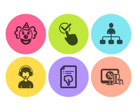Checkbox, Thumb down and Management icons simple set. Clown, Consultant and Online shopping signs. Approved, Decline file. People set. Flat checkbox icon. Circle button. Vector 向量圖像