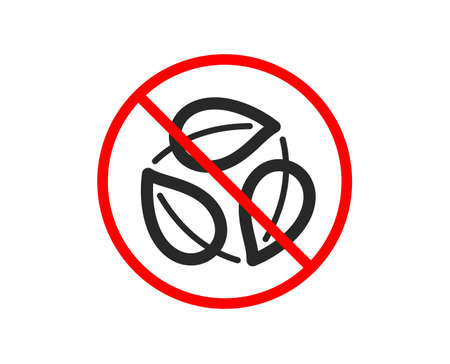 No or Stop. Leaves icon. Nature plant leaf sign. Environmental care symbol. Prohibited ban stop symbol. No leaves icon. Vector