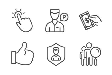 Valet servant, Touchpoint and Pay money icons simple set. Security agency, Like and Search people signs. Parking man, Touch technology. People set. Line valet servant icon. Editable stroke. Vector