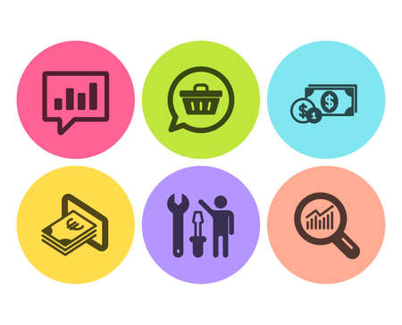 Dollar money, Repairman and Analytical chat icons simple set. Shopping cart, Cash and Data analysis signs. Cash with coins, Repair screwdriver. Business set. Flat dollar money icon. Circle button