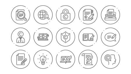 Copywriting line icons. Copyright, Typewriter and Feedback. Legal content linear icon set. Line buttons with icon. Editable stroke. Vector