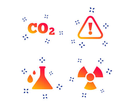 Attention and radiation icons. Chemistry flask sign. CO2 carbon dioxide symbol. Random dynamic shapes. Gradient chemistry icon. Vector