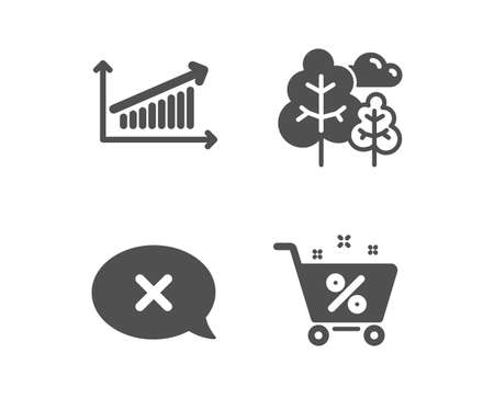 Set of Chart, Reject and Tree icons. Loan percent sign. Presentation chart, Delete message, Forest plants. Shopping cart.  Classic design chart icon. Flat design. Vector