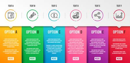 Escalator, Phone communication and Car service icons simple set. Information, Share and Efficacy signs. Elevator, Incoming and outgoing calls. Business set. Infographic template. 6 steps timeline  イラスト・ベクター素材