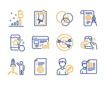 Divider document, Targeting and diagram icons simple set. Window cleaning, Share call and Edit person signs. Star rating, Technical documentation and Web report symbols. Vector Imagens - 124564133