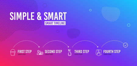 Infographic timeline. Spray, Cleaning service and Bucket icons simple set. Washing cloth sign. Washing cleanser, Bucket with mop, Wipe with a rag. Cleaning set. 4 steps layout. Line spray icon. Vector