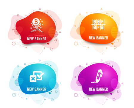 Liquid badges. Set of Bitcoin project, Parking place and Checkbox icons. Signature sign. Cryptocurrency startup, Transport, Survey choice. Written pen.  Gradient bitcoin project icon. Vector Imagens - 124564140