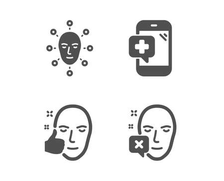 Set of Face biometrics, Healthy face and Medical phone icons. Facial recognition, Healthy cosmetics, Mobile medicine. Identification error.  Classic design face biometrics icon. Flat design. Vector Ilustração