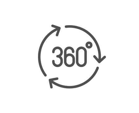 360 degree line icon. VR technology simulation sign. Panoramic view symbol. Quality design element. Linear style 360 degree icon. Editable stroke. Vector
