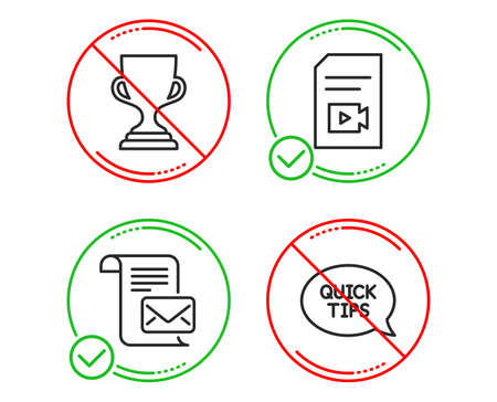 Do or Stop. Award cup, Video file and Mail letter icons simple set. Quickstart guide sign. Trophy, Vlog page, Read e-mail. Helpful tricks. Education set. Line award cup do icon. Prohibited ban stop