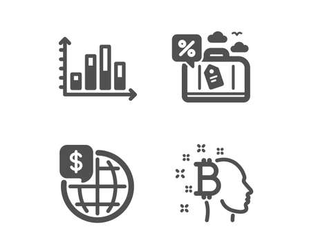 set of diagram graph, travel loan and world money icons  bitcoin think sign