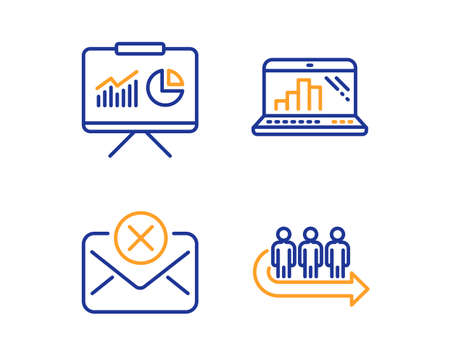 Graph laptop, Presentation and Reject mail icons simple set. Queue sign. Mobile report, Board with charts, Delete letter. People waiting. Business set. Linear graph laptop icon. Colorful design set