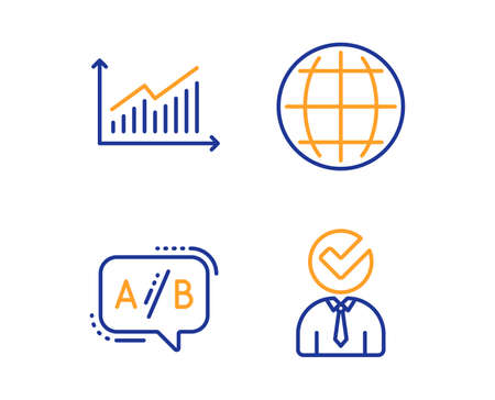 Graph, Ab testing and Globe icons simple set. Vacancy sign. Presentation diagram, Test chat, Internet world. Businessman concept. Business set. Linear graph icon. Colorful design set. Vector