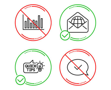 Do or Stop. Bar diagram, Education idea and Web mail icons simple set. Approved message sign. Statistics infochart, Quick tips, World communication. Accepted chat. Education set. Vector
