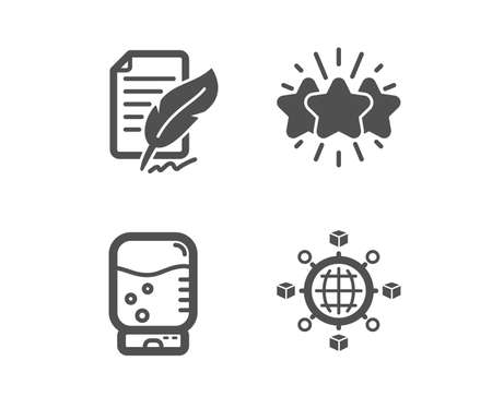 Set of Feather signature, Star and Water cooler icons. Logistics network sign. Feedback, Customer feedback, Office drink. International tracking.  Classic design feather signature icon. Flat design Çizim