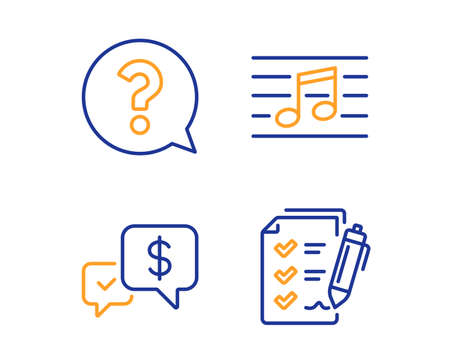 Question mark, Payment received and Musical note icons simple set. Survey checklist sign. Help support, Money, Music. Report. Education set. Linear question mark icon. Colorful design set. Vector