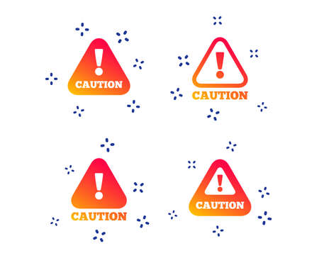 Attention caution icons. Hazard warning symbols. Exclamation sign. Random dynamic shapes. Gradient attention icon. Vector Ilustração