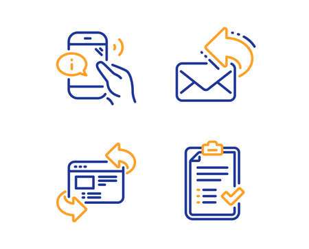 Refresh website, Call center and Share mail icons simple set. Approved checklist sign. Update internet, Phone support, New e-mail. Accepted message. Business set. Linear refresh website icon. Vector Illustration
