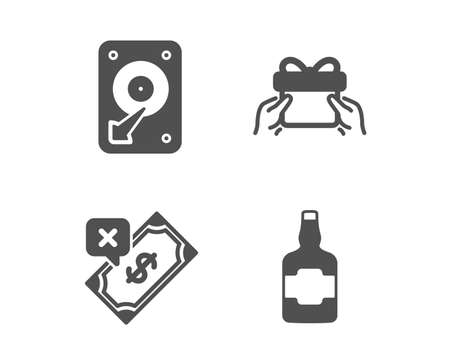 Set of Rejected payment, Hdd and Give present icons. Whiskey bottle sign. Bank transfer, Hard disk, Receive a gift. alcohol.  Classic design rejected payment icon. Flat design. Vector