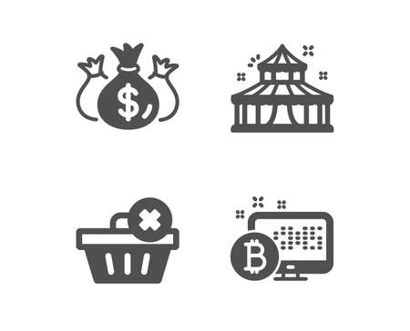 Set of Check investment, Delete order and Circus icons. Bitcoin system sign. Business report, Clean basket, Attraction park. Cryptocurrency monitor.  Classic design check investment icon. Flat design Ilustracja