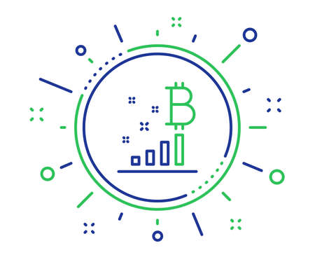 Bitcoin graph line icon. Cryptocurrency analytics sign. Crypto money symbol. Quality design elements. Technology bitcoin graph button. Editable stroke. Vector
