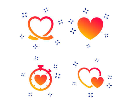 Heart ribbon icon. Timer stopwatch symbol. Love and Heartbeat palpitation signs. Random dynamic shapes. Gradient love icon. Vector