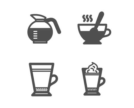 Set of Tea cup, Coffeepot and Latte icons. Latte coffee sign. Coffee with spoon, Hot drink with whipped cream.  Classic design tea cup icon. Flat design. Vector Çizim
