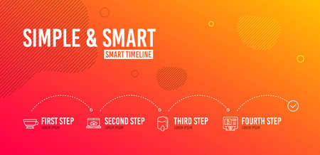 Infographic timeline. Online delivery, Drop counter and Dry cappuccino icons simple set. Bitcoin atm sign. Parcel tracking website, Medical equipment, Beverage mug. Cryptocurrency change. Vector
