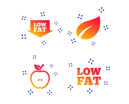 Low fat arrow icons. Diets and vegetarian food signs. Apple with leaf symbol. Random dynamic shapes. Gradient diet icon. Vector