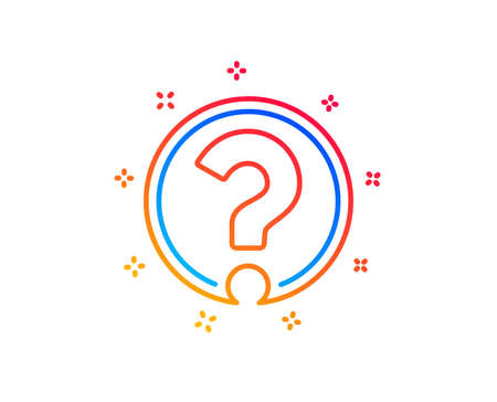 Question mark line icon. Support help sign. FAQ symbol. Gradient design elements. Linear question mark icon. Random shapes. Vector