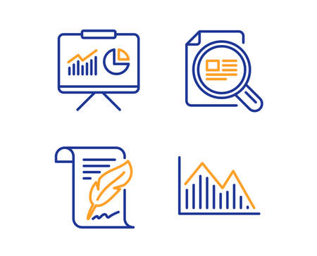 Check article, Feather and Presentation icons simple set. Investment graph sign. Magnifying glass, Copyright page, Board with charts. Investment infochart. Science set. Linear check article icon
