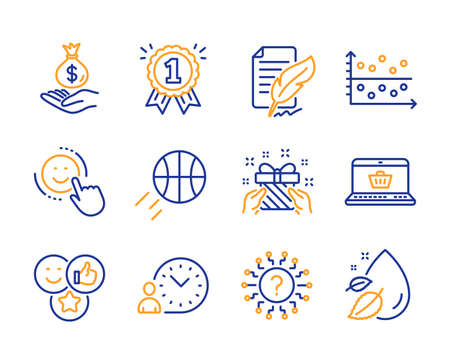 Feather signature, Gift and Smile icons simple set. Income money, Dot plot and Reward signs. Basketball, Time management and Like symbols. Online shopping, Question mark and Water drop. Vector