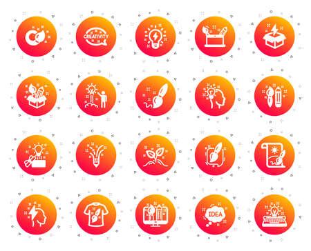 Creativity brush icons. Set of Design, Idea and Inspiration linear icons. Imagination, Idea box and Creative design. Brush with draw pencil, T shirt and Out of the box creativity. Gradient buttons set