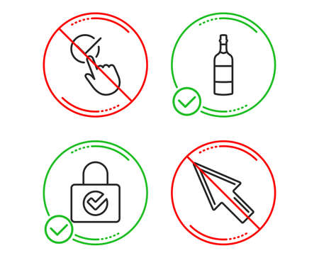Do or Stop. Password encryption, Checkbox and Brandy bottle icons simple set. Mouse cursor sign. Protection locker, Approved, Whiskey. Click arrow. Business set. Line password encryption do icon Illustration