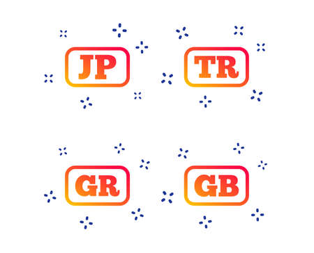 Language icons. JP, TR, GR and GB translation symbols. Japan, Turkey, Greece and England languages. Random dynamic shapes. Gradient language icon. Vector Banque d'images - 125037093