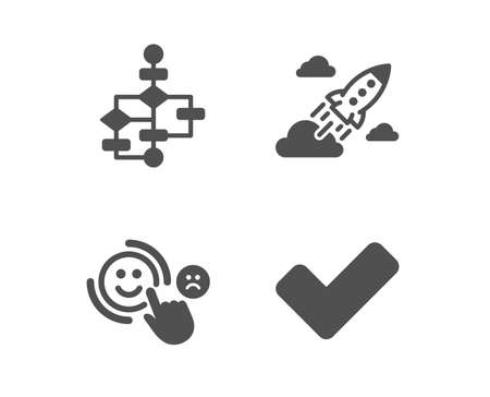 Set of Block diagram, Startup rocket and Customer satisfaction icons. Tick sign. Algorithm path, Business innovation, Happy smile. Confirm check.  Classic design block diagram icon. Flat design