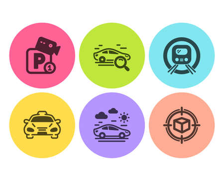 Taxi, Search car and Metro subway icons simple set. Parking security, Car travel and Parcel tracking signs. Public transportation, Find transport. Transportation set. Flat taxi icon. Circle button