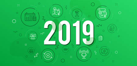 Infographic concept. Creative idea, Medical chat and Face declined icons simple set. Reject refresh, Car travel and Microphone signs. Student, Calendar and Settings blueprint symbols. 2019 year