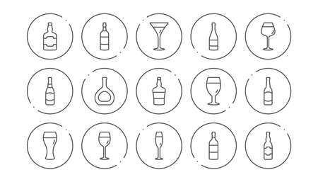 Bottles line icons. Beer drinks, Wine glass and Whiskey bottle. Champagne linear icon set. Line buttons with icon. Editable stroke. Vector