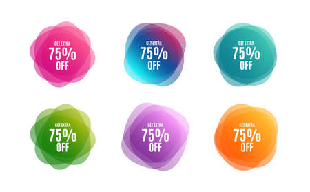 Blur shapes. Get Extra 75% off Sale. Discount offer price sign. Special offer symbol. Save 75 percentages. Color gradient sale banners. Market tags. Vector
