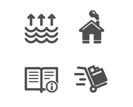 Set of Home, Evaporation and Technical info icons. Push cart sign. House building, Global warming, Documentation. Express delivery.  Classic design home icon. Flat design. Vector