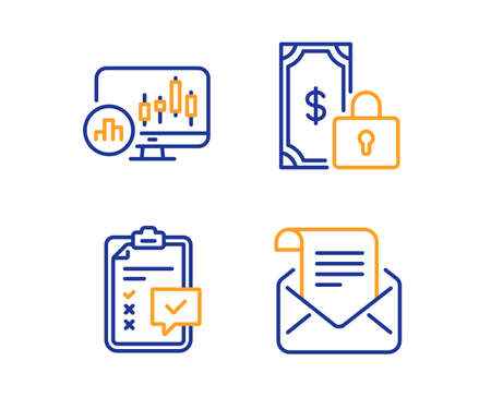 Private payment, Checklist and Candlestick chart icons simple set. Mail newsletter sign. Secure finance, Survey, Report analysis. Open e-mail. Education set. Linear private payment icon. Vector Illustration