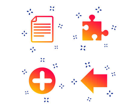 Plus add circle and puzzle piece icons. Document file and back arrow sign symbols. Random dynamic shapes. Gradient puzzle icon. Vector