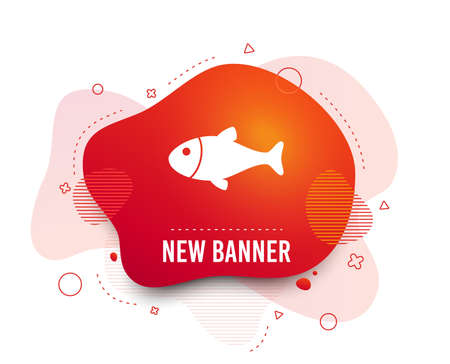 Fluid badge. Fish sign icon. Fishing symbol. Abstract shape. Gradient fish icon. Flyer liquid banner. Vector Illustration