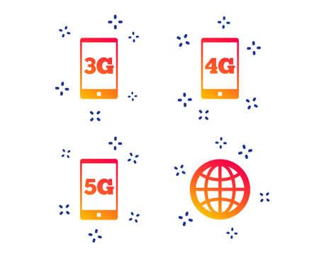 Icônes de télécommunications mobiles. Symboles de la technologie 3G, 4G et 5G. Signe de globe terrestre. Formes dynamiques aléatoires. Icône de technologie de dégradé. Vecteur