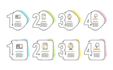 Speaker, Feedback and Medical phone icons simple set. Elastic sign. Music sound, Book with pencil, Mobile medicine. Resilience. Science set. Infographic timeline. Line speaker icon. 4 options or steps