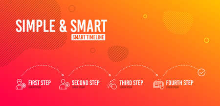 Infographic timeline. Support, Swipe up and User idea icons simple set. Technical documentation sign. Edit profile, Touch down, Light bulb. Manual. People set. 4 steps layout. Line support icon. Vector Illustration