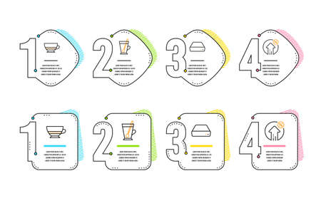 Mini pc, Tea mug and Bombon coffee icons simple set. Loan percent sign. Computer, Cup with teaspoon, Cafe bombon. Growth rate. Infographic timeline. Line mini pc icon. 4 options or steps. Vector
