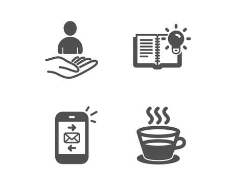 Set of Mail, Product knowledge and Recruitment icons. Coffee cup sign. Smartphone communication, Education process, Hr. Tea mug.  Classic design mail icon. Flat design. Vector